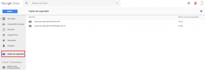 Imagen - Google Drive ya muestra las backups de tu Android