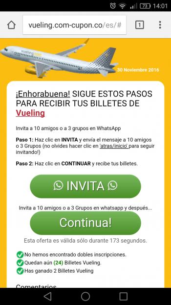 Imagen - ¡Cuidado! Vueling no regala billetes de avión a través de WhatsApp