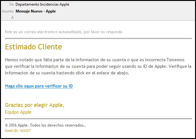 Imagen - Nuevo correo falso se hace pasar por Apple para robarte tu tarjeta de crédito