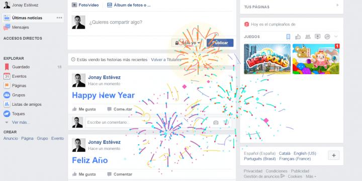 """Imagen - Facebook lanza una animación para la palabra """"Feliz Año"""""""