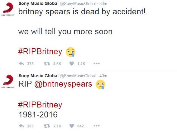 """Imagen - Hackean las cuentas de Twitter de Sony Music y Bob Dylan para """"matar"""" a Britney Spears"""