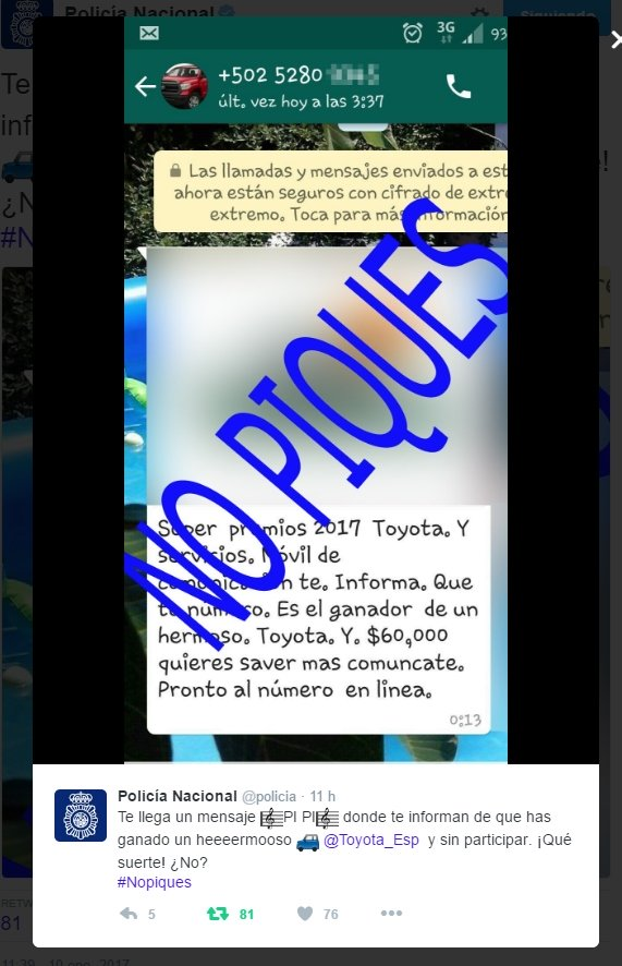 Imagen - Cuidado con el premio de un Toyota que circula por WhatsApp
