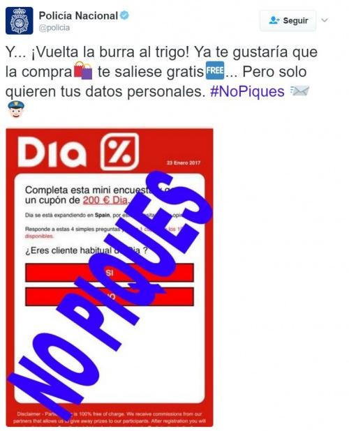 Imagen - Cuidado con los falsos cupones de Supermercados Dia de 200 euros