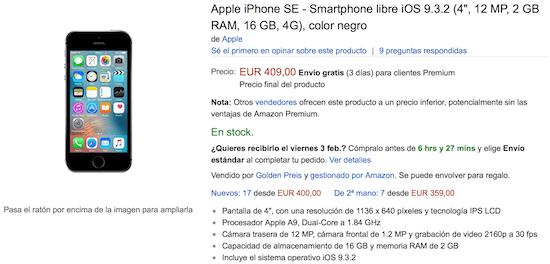Imagen - Oferta: iPhone SE por 409 euros en Amazon