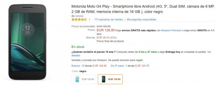 Imagen - Oferta: Moto G4 Play en oferta por solo 129,90 euros