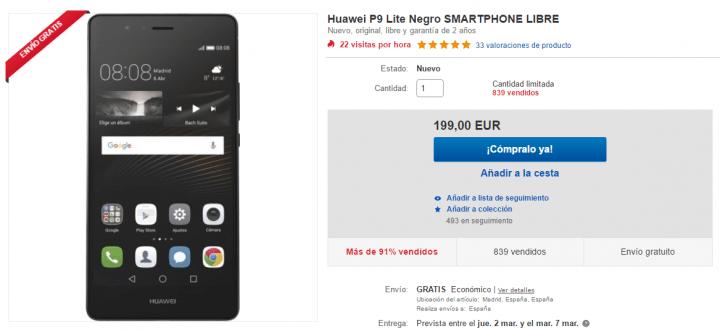 Imagen - Oferta: Huawei P9 Lite por solo 199 euros