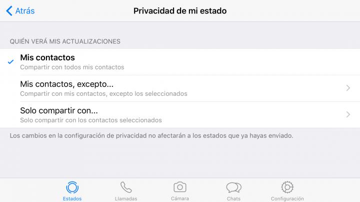 Imagen - Cómo configurar la privacidad de los Estados de WhatsApp