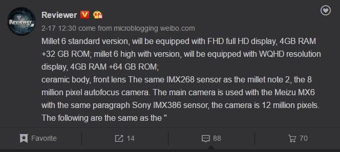 Imagen - Xiaomi Mi6 podría lanzarse en dos versiones