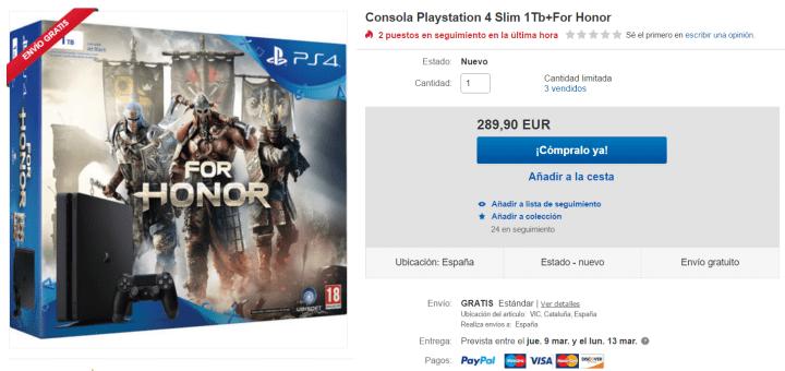 Imagen - Oferta: PlayStation 4 de 1 TB con For Honor por solo 289,90 euros