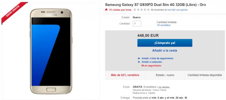 Imagen - Oferta: Samsung Galaxy S7 oro por tan solo 448 euros