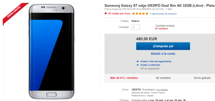 Imagen - Oferta: Samsung Galaxy S7 Edge plata por 480 euros