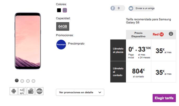 Imagen - Samsung Galaxy S8: precios con Vodafone