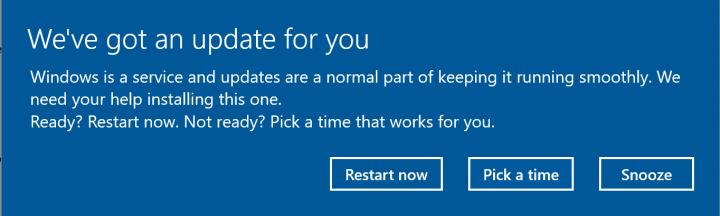 Imagen - Windows 10 permitirá aplazar el reinicio tras instalar una actualización
