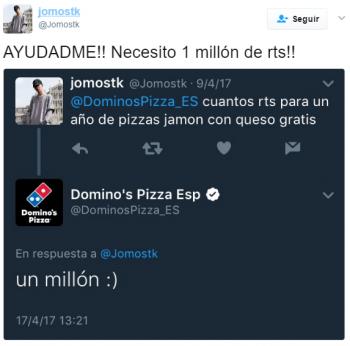 Imagen - Domino's Pizza cancela el reto: pizzas gratis si consigue 1 millón de RTs
