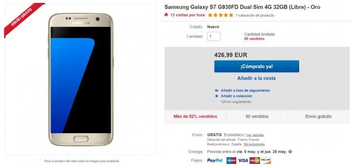 Imagen - Oferta: Samsung Galaxy S7 de 32 GB y color oro por 426,99 euros