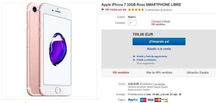 Imagen - Oferta: iPhone 7 de 32 GB por solo 709 euros con envío desde España