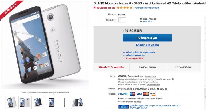Imagen - Oferta: Nexus 6 por menos de 200 euros