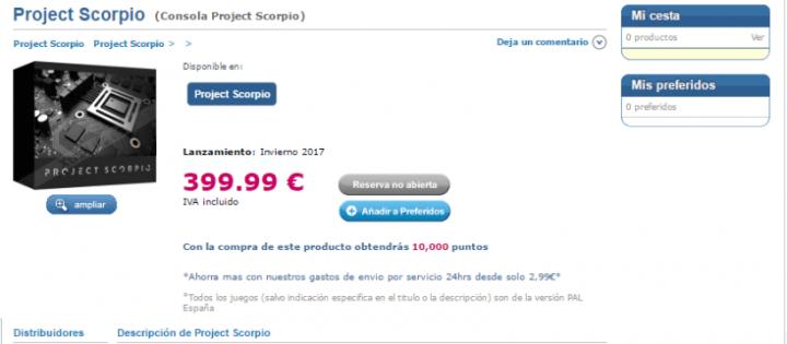 Imagen - Se filtra el posible precio de Project Scorpio