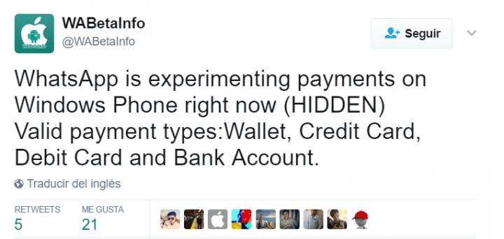 Imagen - WhatsApp tendrá cuatro sistemas para realizar pagos