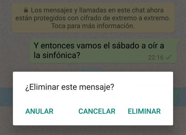 Imagen - Eliminar y anular un mensaje de WhatsApp, ¿es lo mismo?