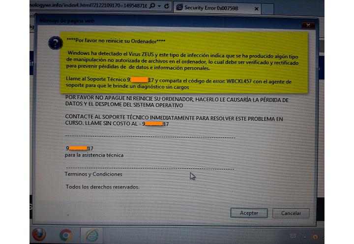 """Imagen - Cuidado con el falso mensaje del """"Virus ZEUS"""""""