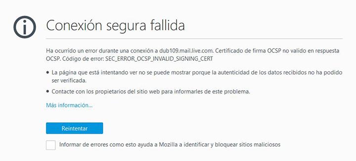 """Imagen - Outlook muestra el error """"SEC_ERROR_OCSP_INVALID_SIGNING_CERT"""""""