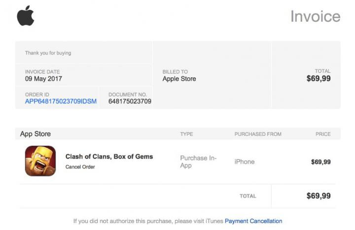 Imagen - Cuidado con los emails de compras en Clash of Clans de la App Store