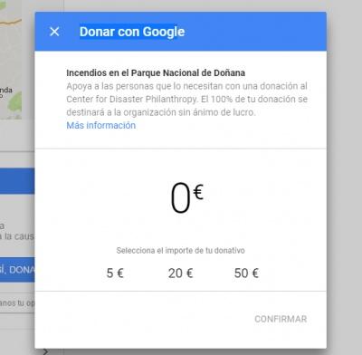 Imagen - Google añade información y donaciones para el incendio de Doñana