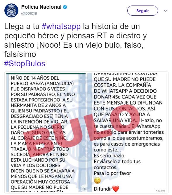 Imagen - Cuidado con el bulo de WhatsApp sobre el niño de Baeza al que dispararon