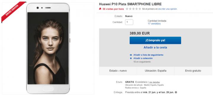Imagen - Oferta: Huawei P10 en color plata por solo 389 euros