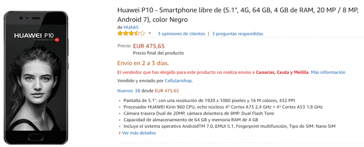Imagen - Oferta: Huawei P10 por menos de 500 euros