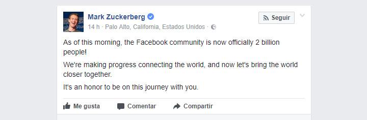 Imagen - Facebook supera los 2.000 millones de usuarios