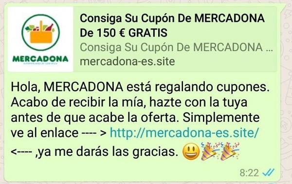 Imagen - Mercadona no regala cupones de 150 euros por WhatsApp