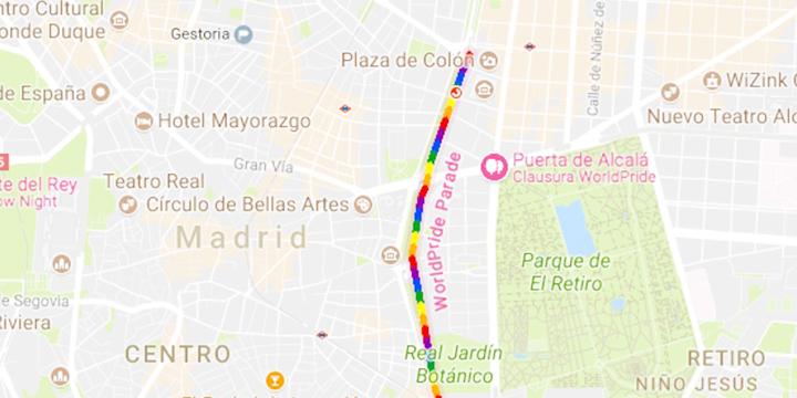 Google Maps te muestra la ruta del WorldPride Madrid