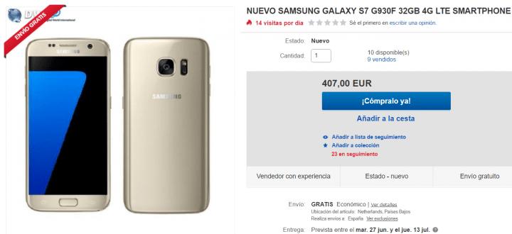 Imagen - Oferta: Samsung Galaxy S7 color oro por tan solo 407 euros en eBay