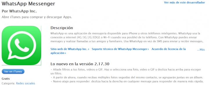 Imagen - Descarga WhatsApp 2.17.30 para iOS con álbumes, filtros y respuestas rápidas