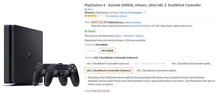 Imagen - Oferta: PlayStation 4 Slim de 500 GB y dos mandos por 238 euros