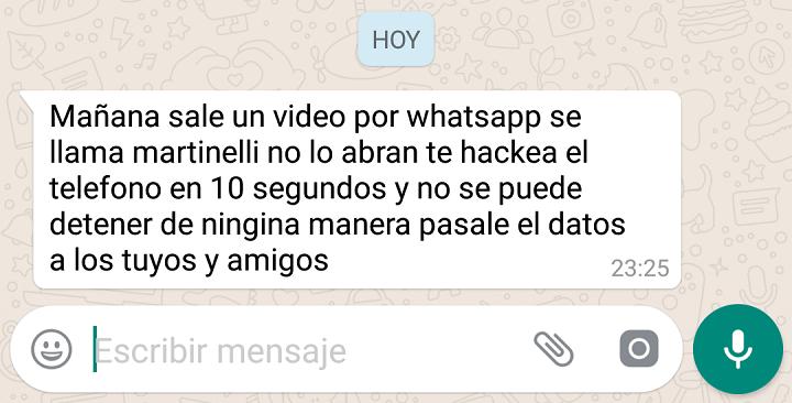 """Imagen - Un bulo de WhatsApp asegura que el """"vídeo de martinelli"""" te hackea el teléfono"""