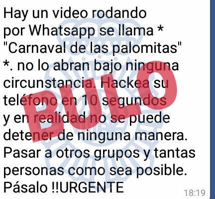 """Imagen - Un bulo sobre un vídeo """"Carnaval de las palomitas"""" circula por WhatsApp"""