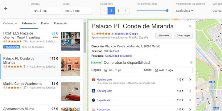 Imagen - Google muestra pisos vacacionales en las búsquedas de hoteles