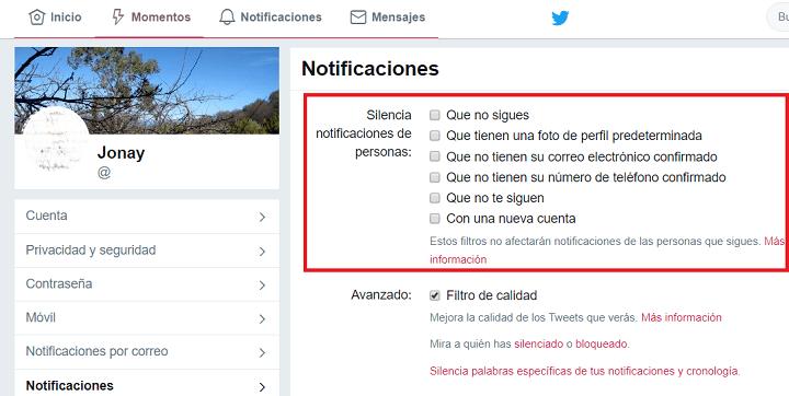 Imagen - Twitter ya permite silenciar notificaciones de usuarios nuevos o que no te siguen