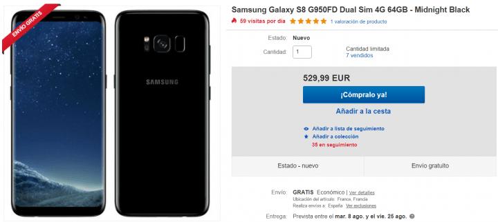 Imagen - Oferta: Samsung Galaxy S8 de 64 GB con más de 300 euros de descuento