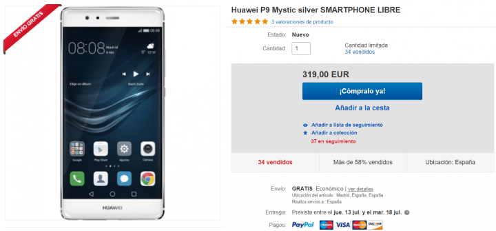Imagen - Oferta: Huawei P9 por 319 euros en eBay