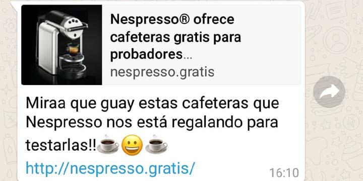 Nespresso no está regalando cafeteras por WhatsApp, cuidado con esta nueva estafa