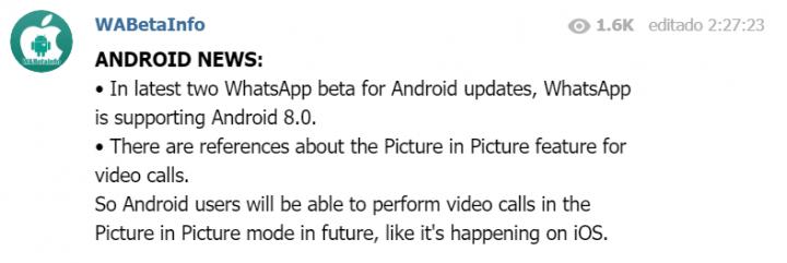 Imagen - Picture in Picture, la próxima novedad de las videollamadas de WhatsApp