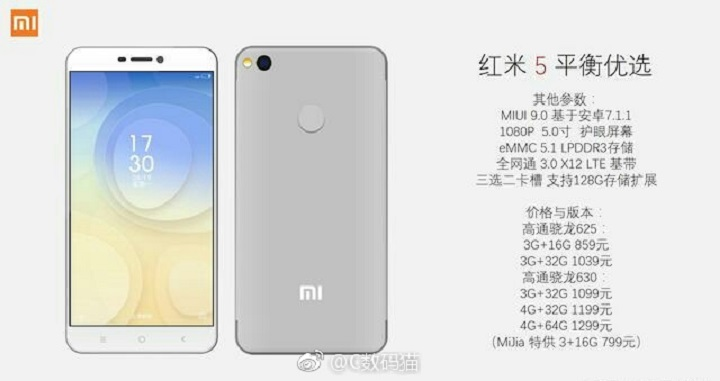 Imagen - Xiaomi Redmi 5, imágenes y especificaciones filtradas