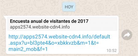 """Imagen - Una falsa """"Encuesta anual de visitantes de 2017"""" circula por WhatsApp"""