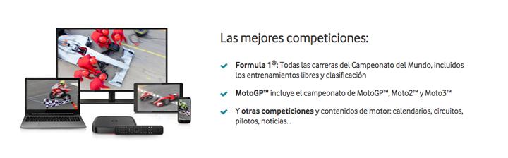 Imagen - Vodafone Fútbol ofrecerá Moto GP y Fórmula 1 a todos