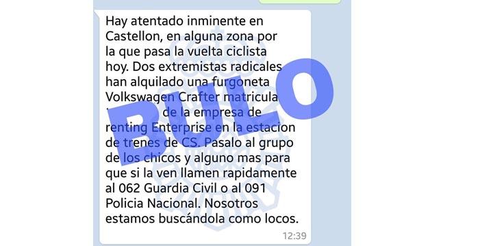 Imagen - Nueva falsa alerta de un atentado en Castellón circula por WhatsApp