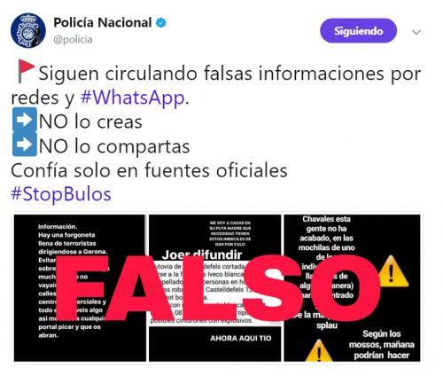 Imagen - Alerta de bulos de amenazas de atentados en Cataluña por WhatsApp